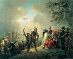 Dannebrog daler ned fra himmelen over Estland i 1219 - siges det.